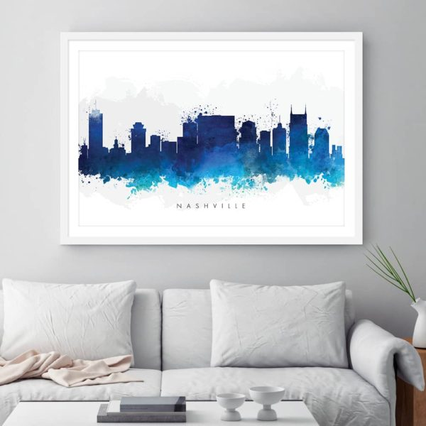 nashville skyline blue watercolor print framed