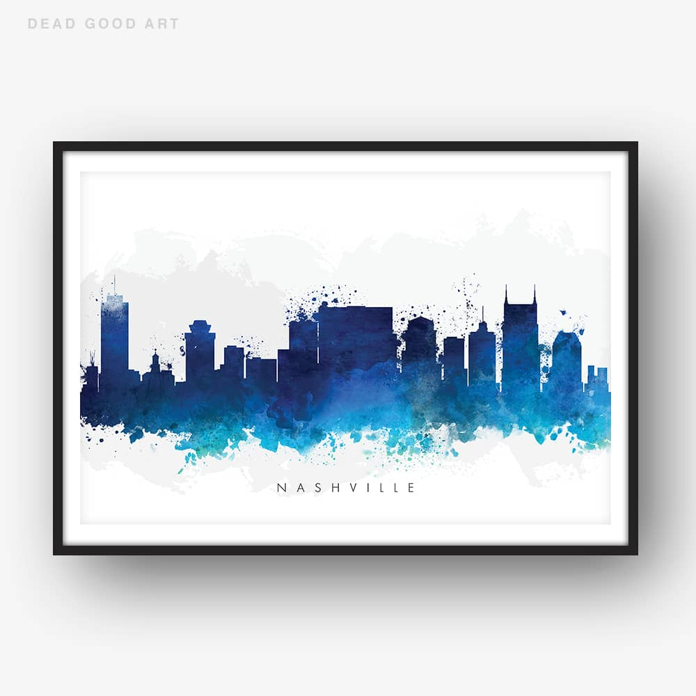 nashville skyline blue watercolor print