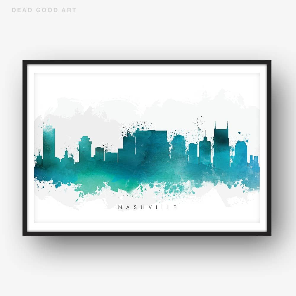 nashville skyline green watercolor print