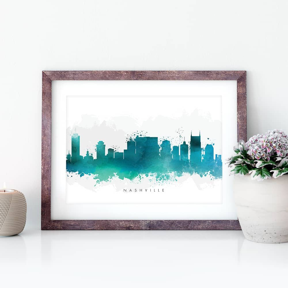 nashville skyline green watercolor print closeup