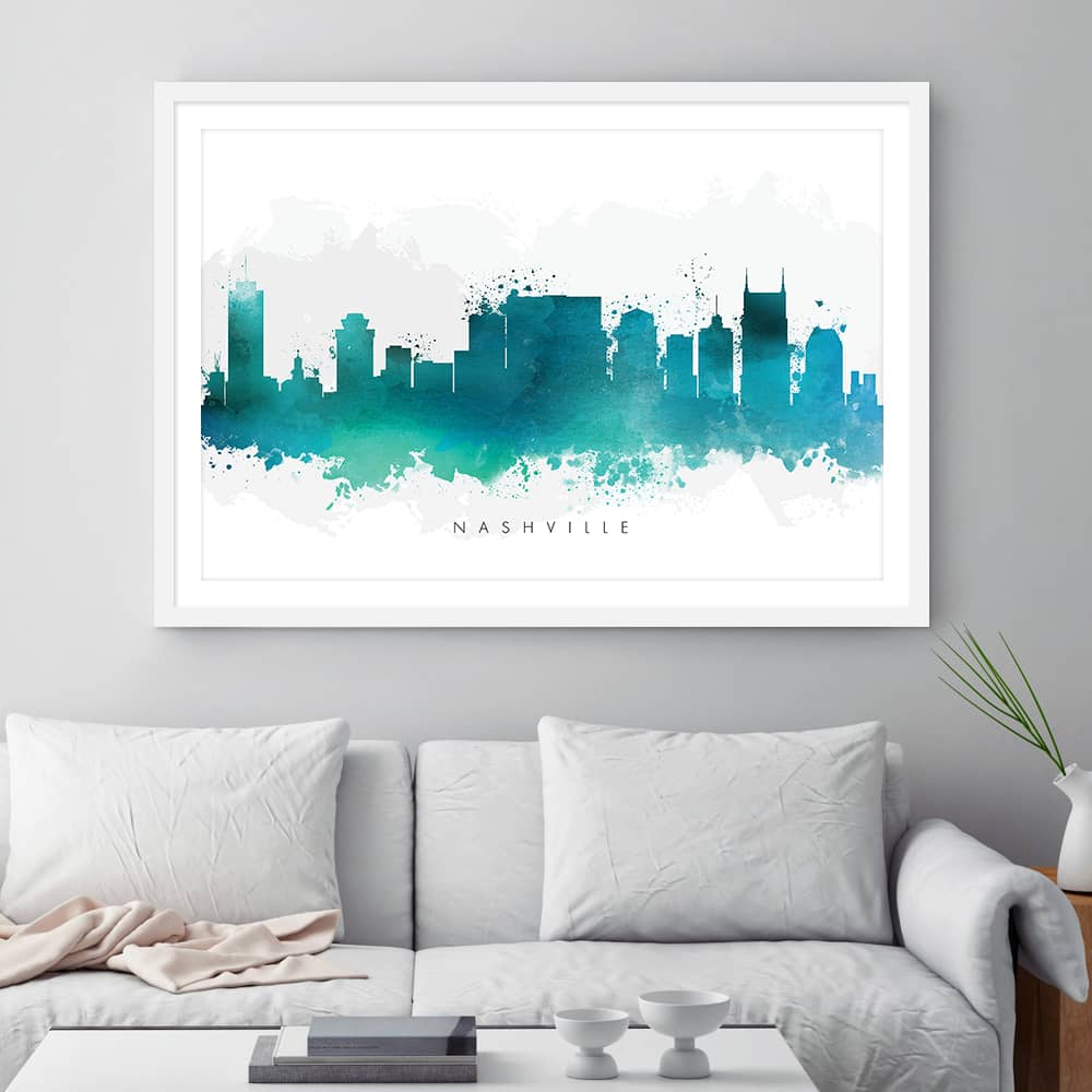 nashville skyline green watercolor print framed