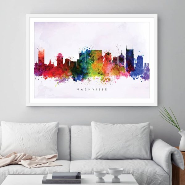 nashville skyline multi color watercolor print framed 1