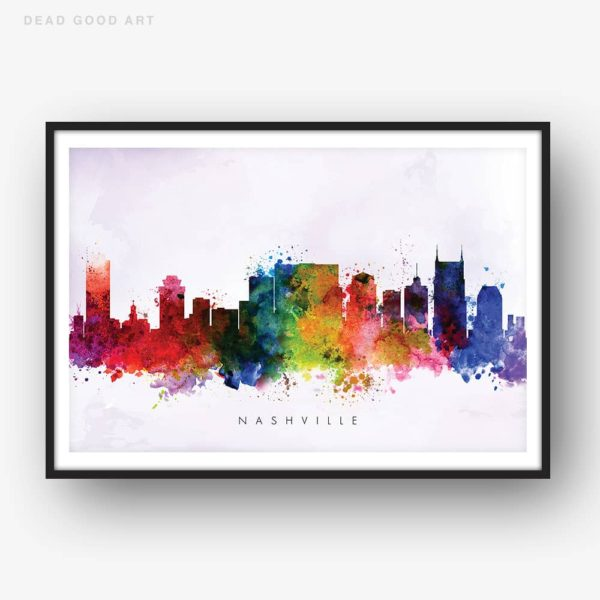 nashville skyline purple wash watercolor print