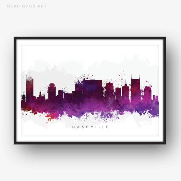nashville skyline purple watercolor print
