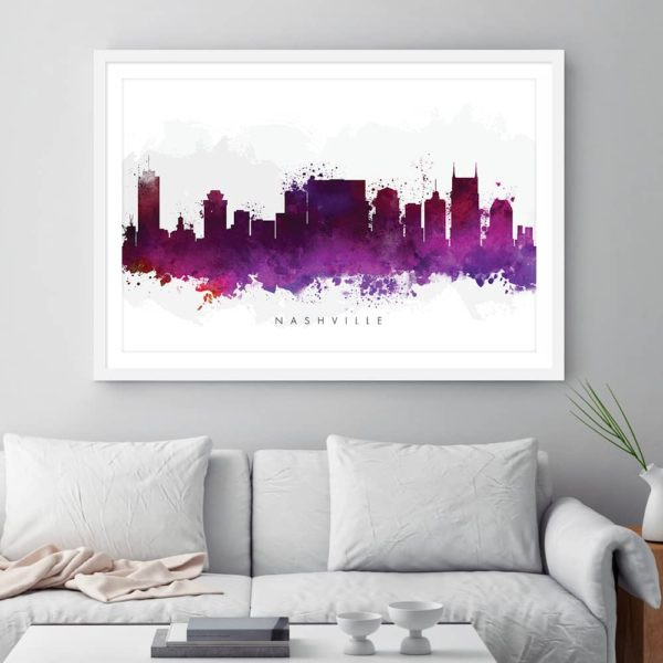 nashville skyline purple watercolor print framed