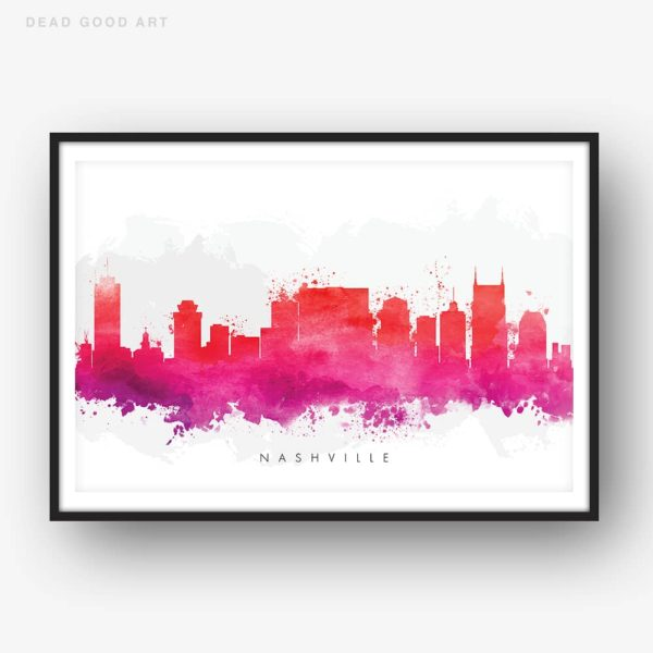 nashville skyline red watercolor print