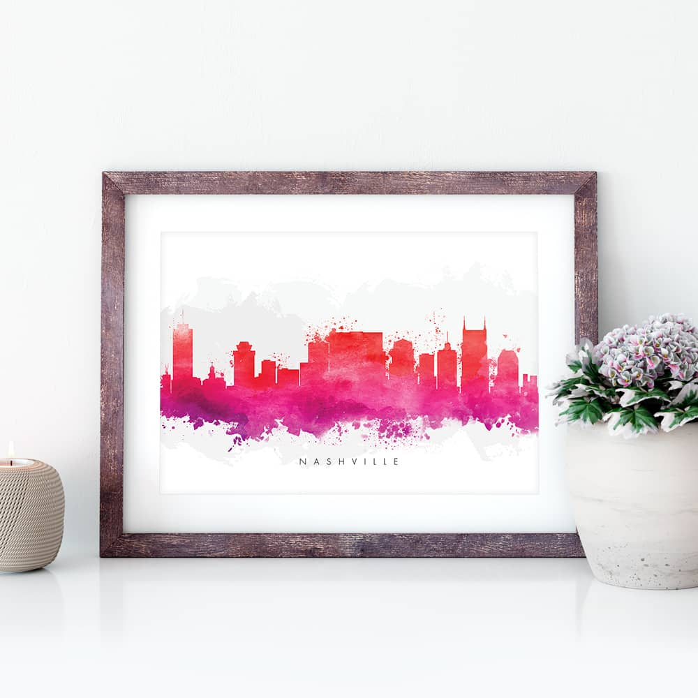 nashville skyline red watercolor print closeup