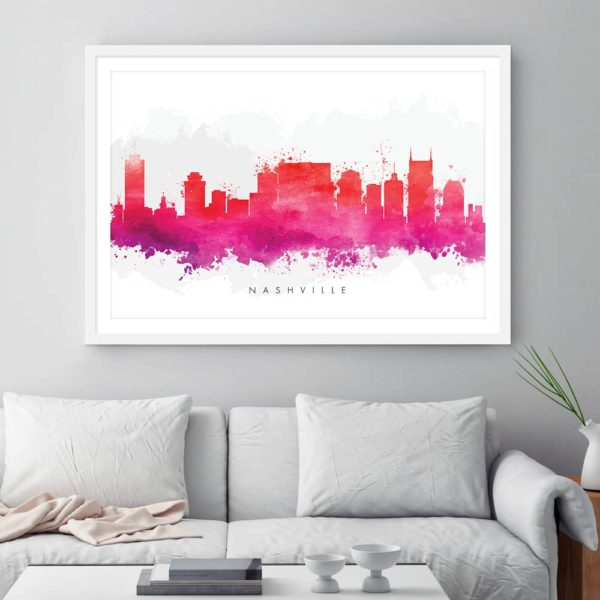 nashville skyline red watercolor print framed