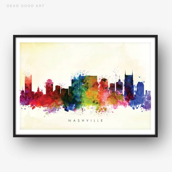 nashville skyline yellow wash watercolor print