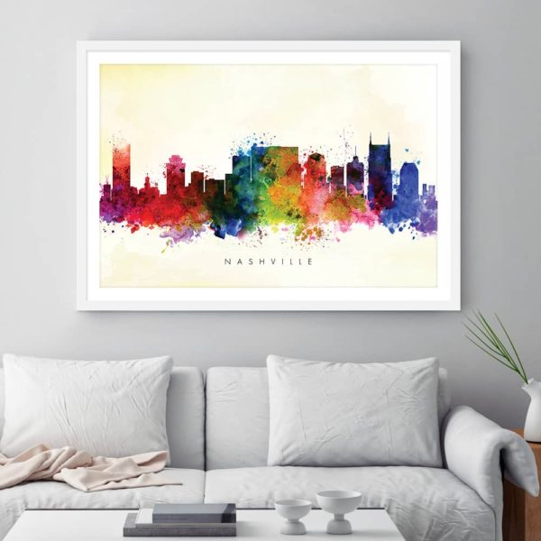 nashville skyline yellow wash watercolor print framed