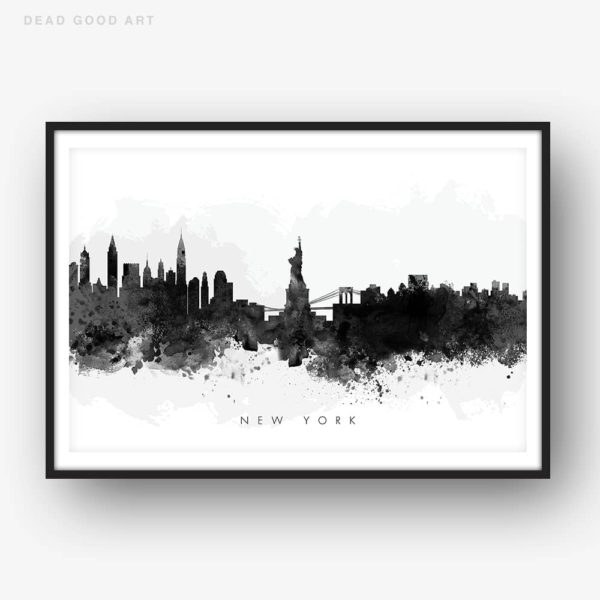 new york skyline black white watercolor print