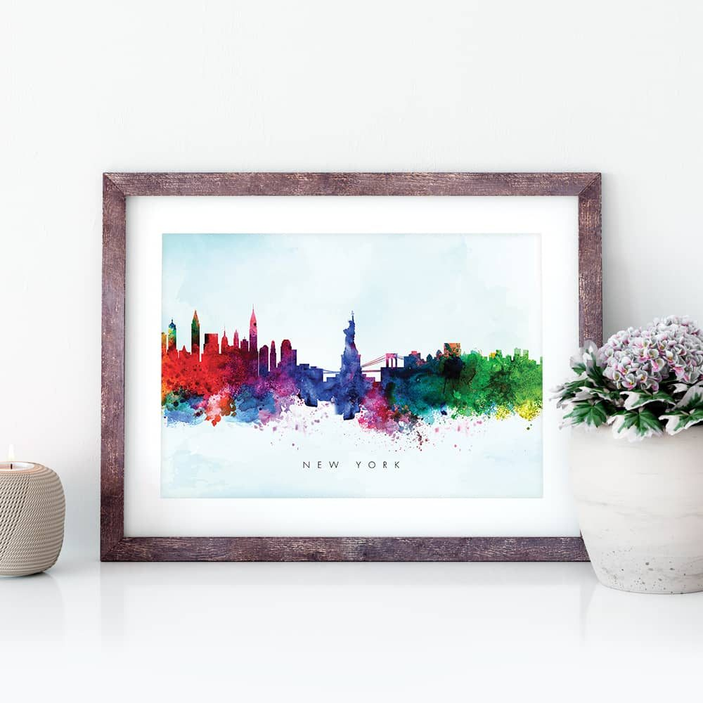 new york skyline blue wash watercolor print closeup
