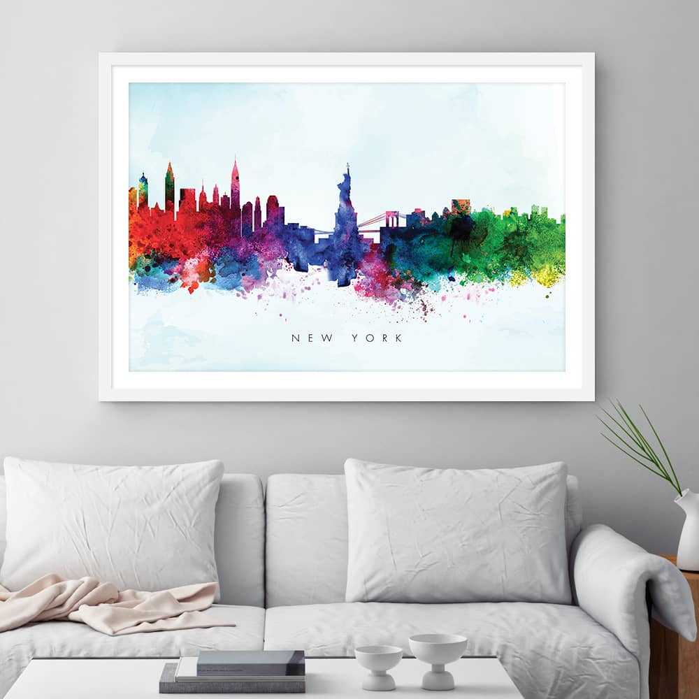 new york skyline blue wash watercolor print framed