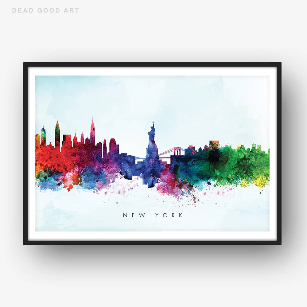 new york skyline blue wash watercolor print