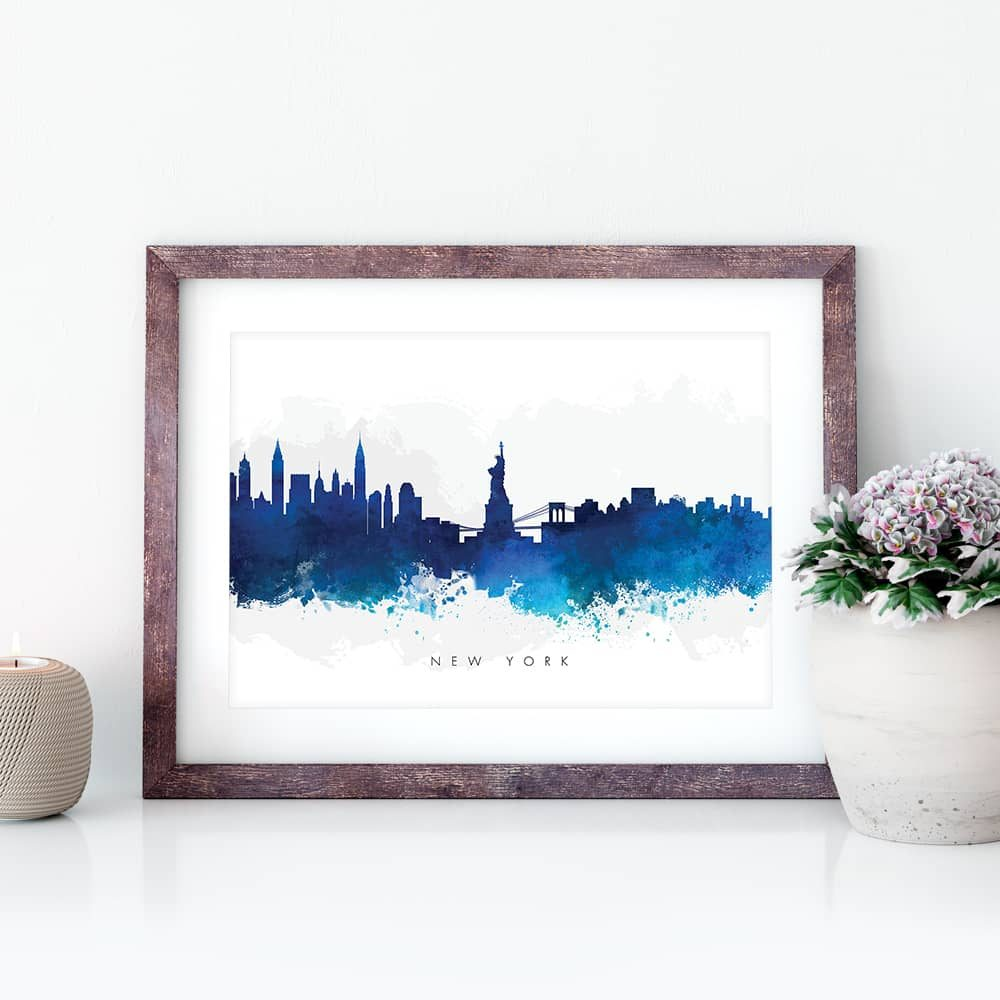 new york skyline blue watercolor print closeup