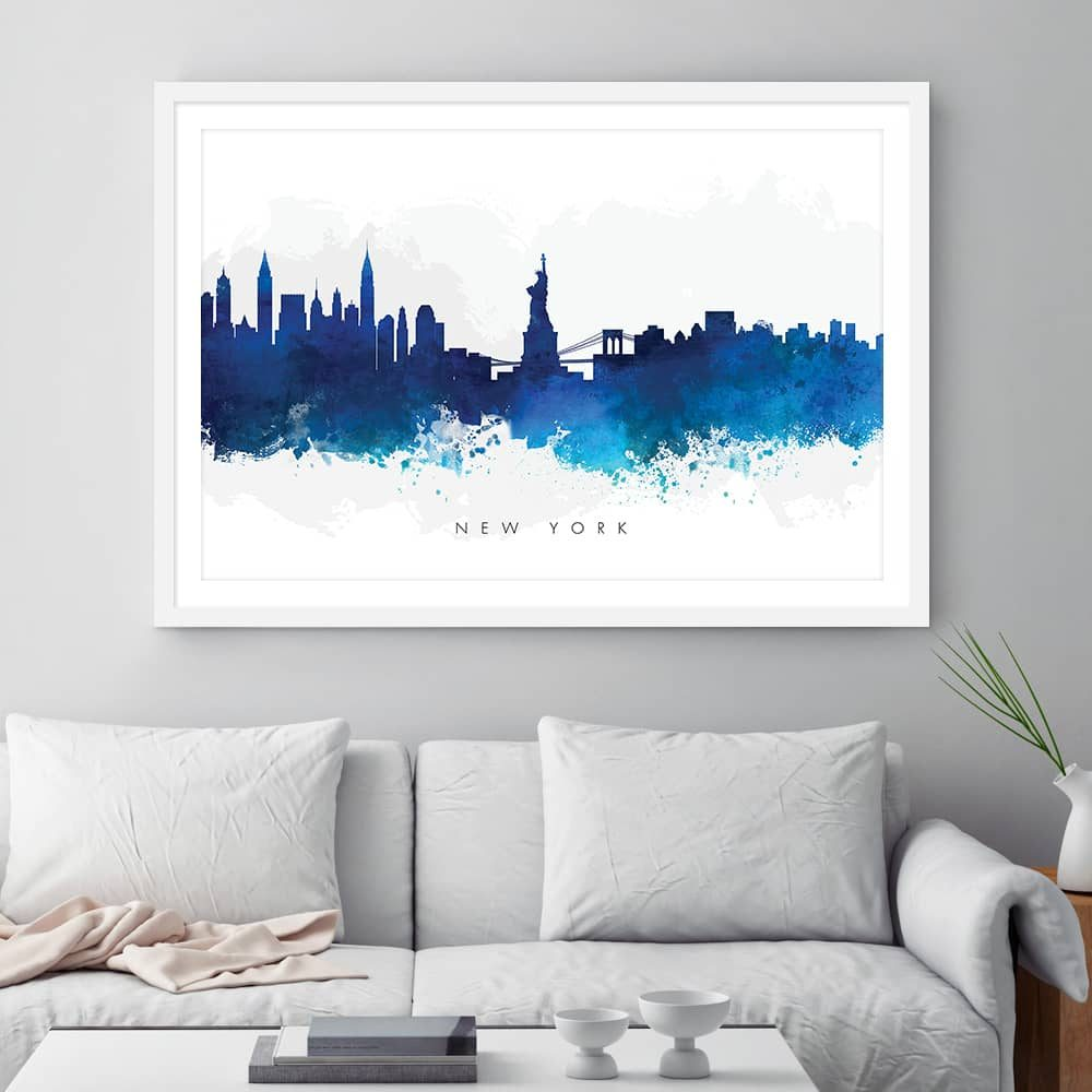 new york skyline blue watercolor print framed