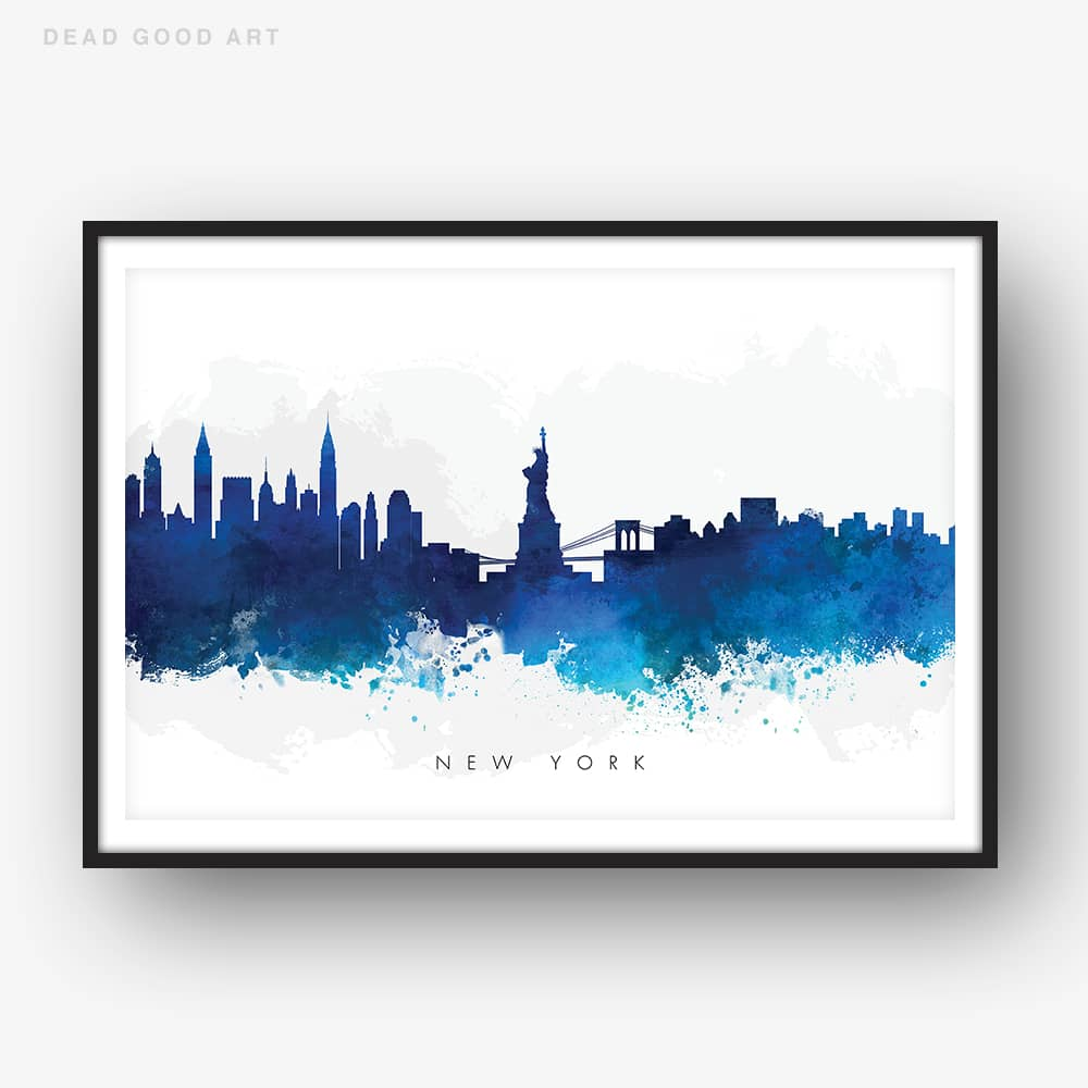 new york skyline blue watercolor print