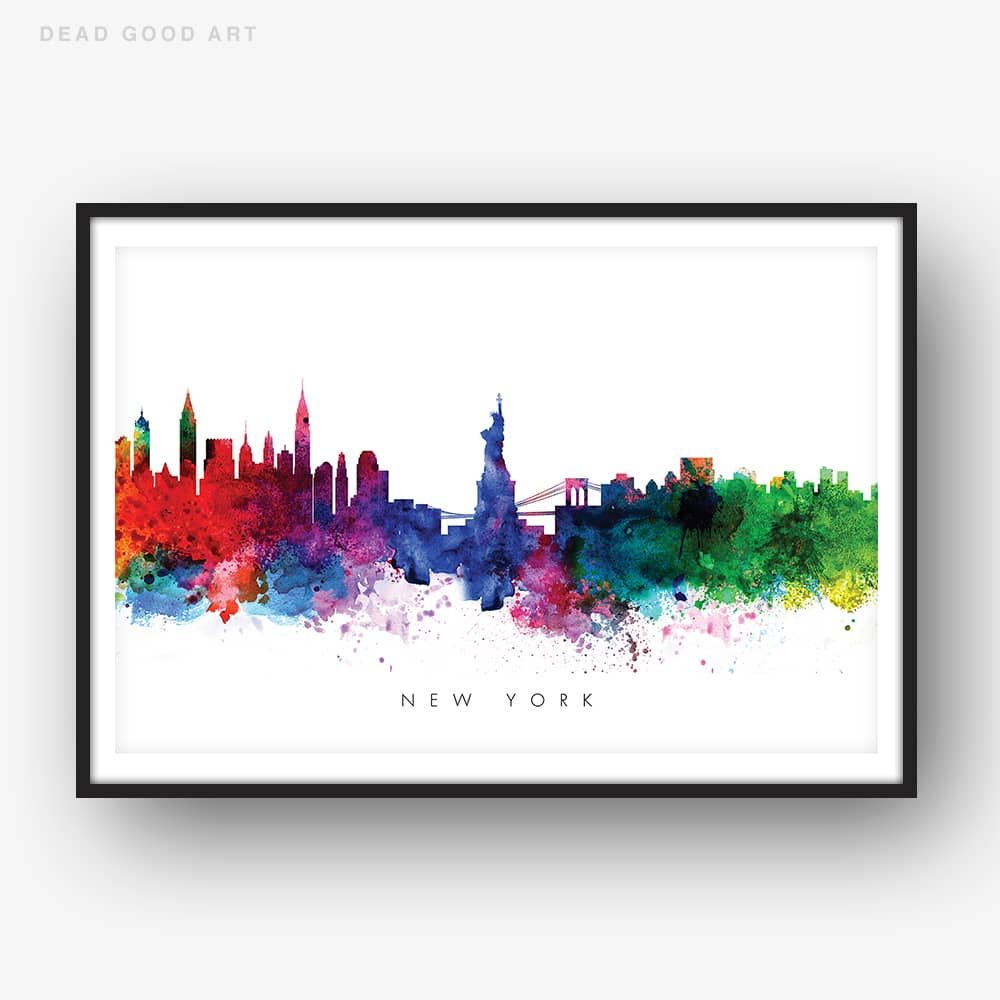 new york skyline multi color watercolor print