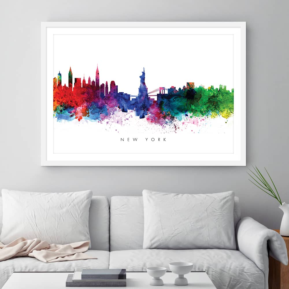 new york skyline multi color watercolor print framed