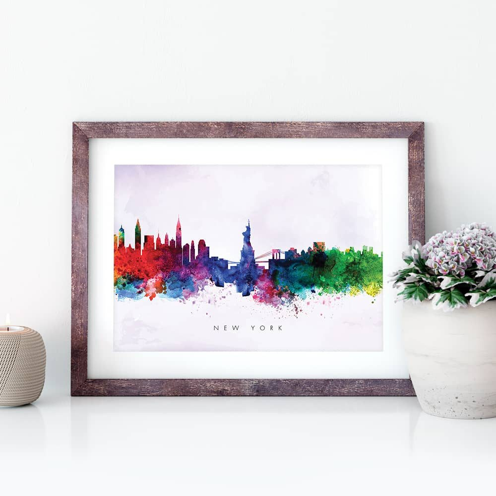 new york skyline purple wash watercolor print closeup