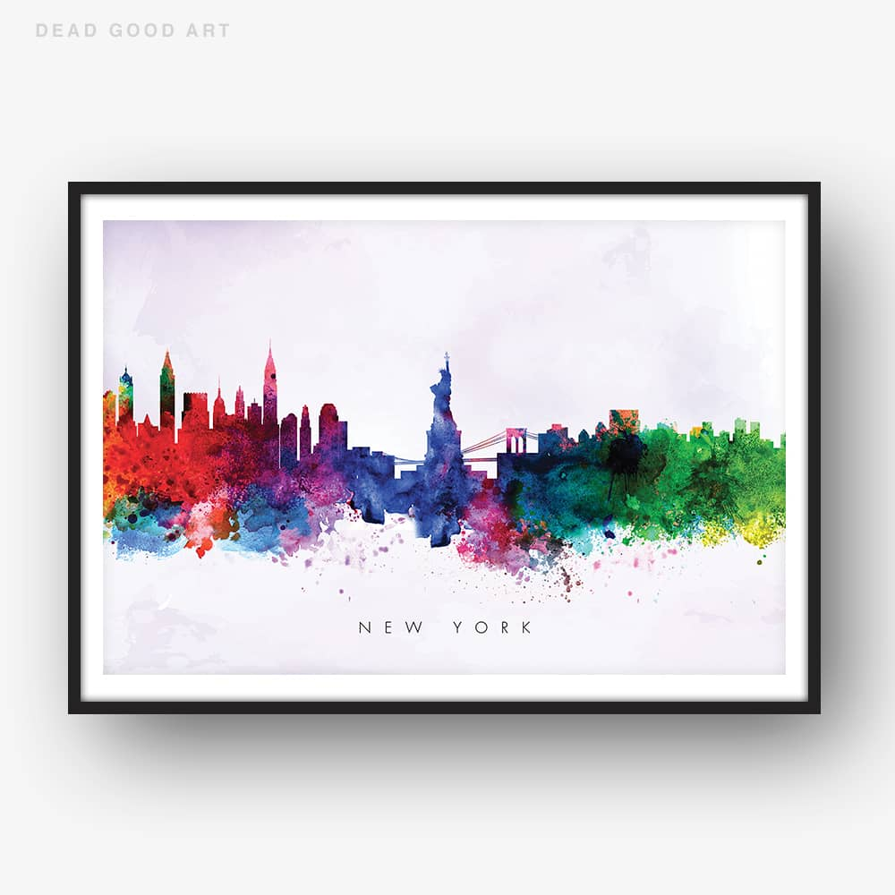 new york skyline purple wash watercolor print