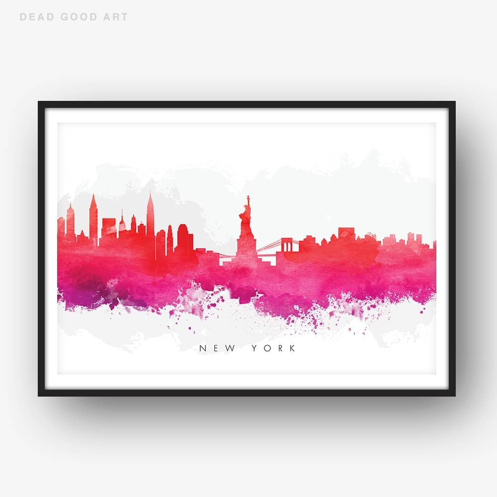 new york skyline red watercolor print