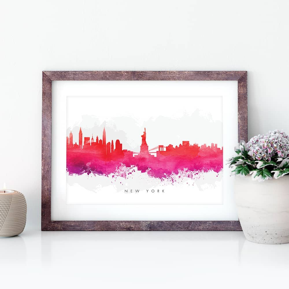 new york skyline red watercolor print closeup