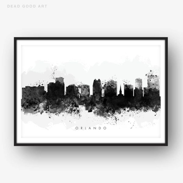 orlando skyline black white watercolor print