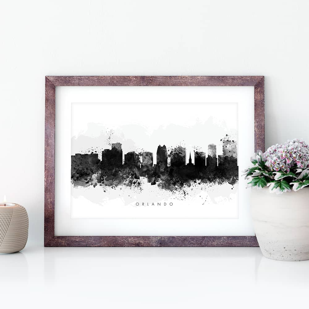orlando skyline black white watercolor print closeup
