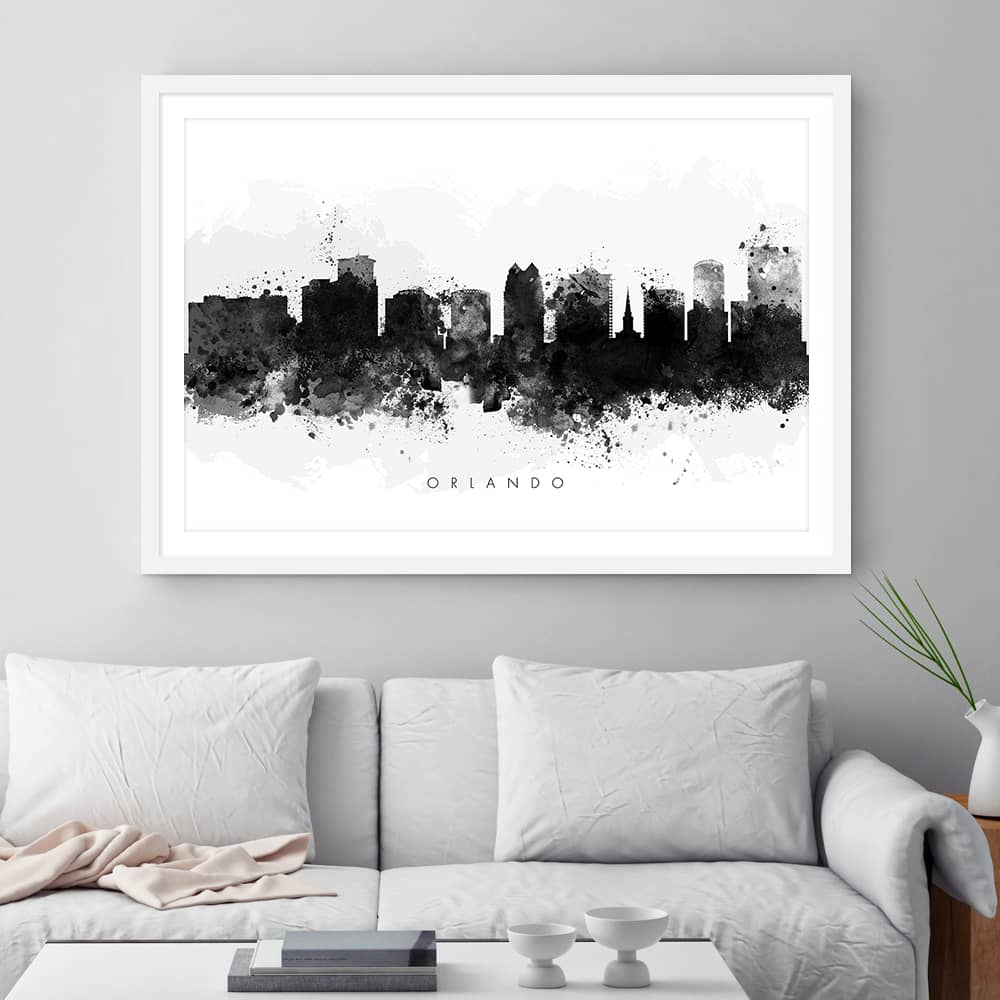 orlando skyline black white watercolor print framed