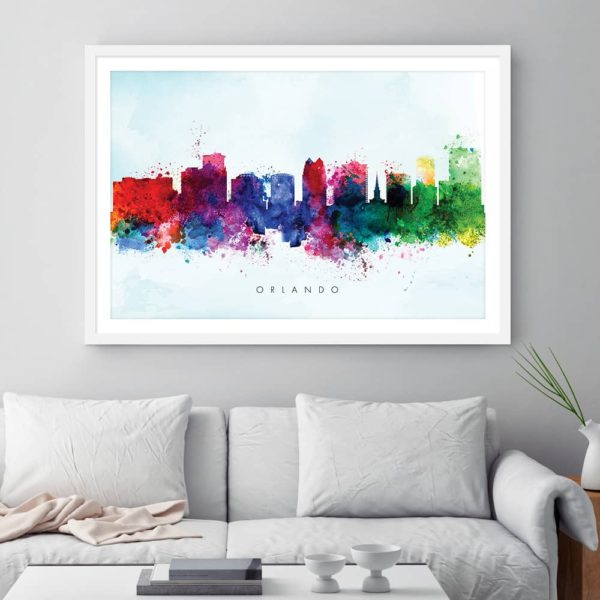 orlando skyline blue wash watercolor print framed