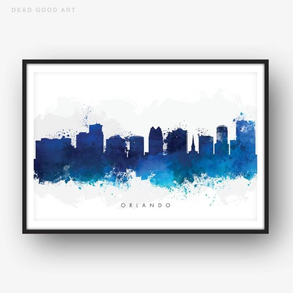 orlando skyline blue watercolor print