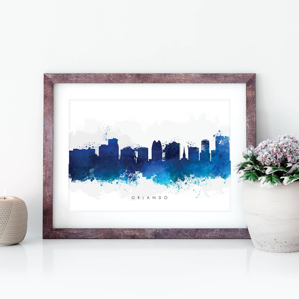 orlando skyline blue watercolor print closeup