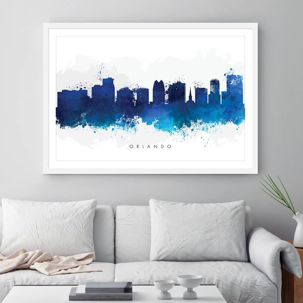 orlando skyline blue watercolor print framed