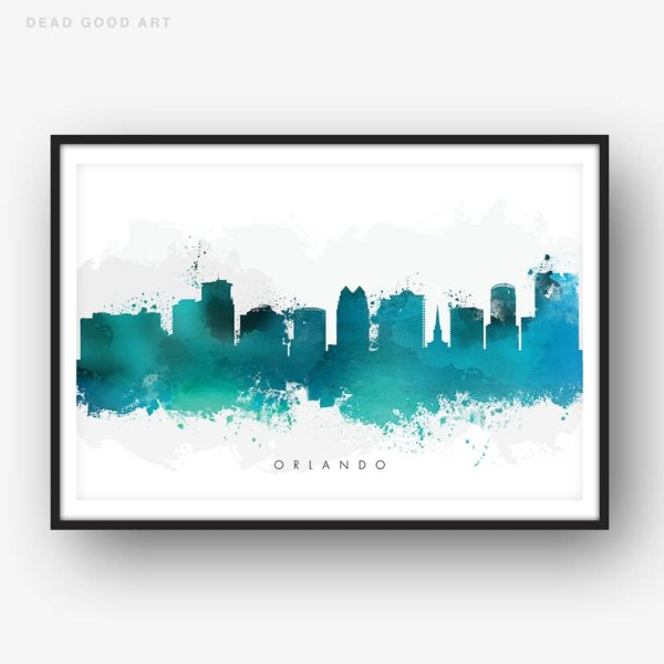 orlando skyline green watercolor print