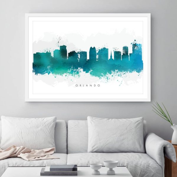 orlando skyline green watercolor print framed