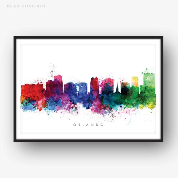 orlando skyline multi color watercolor print
