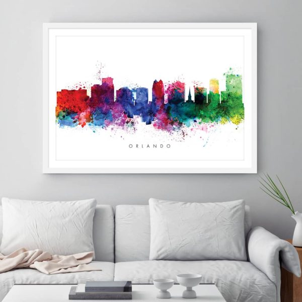 orlando skyline multi color watercolor print framed