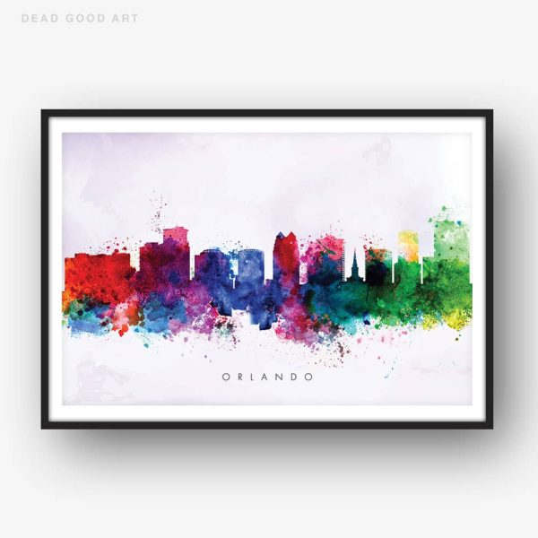 orlando skyline purple wash watercolor print