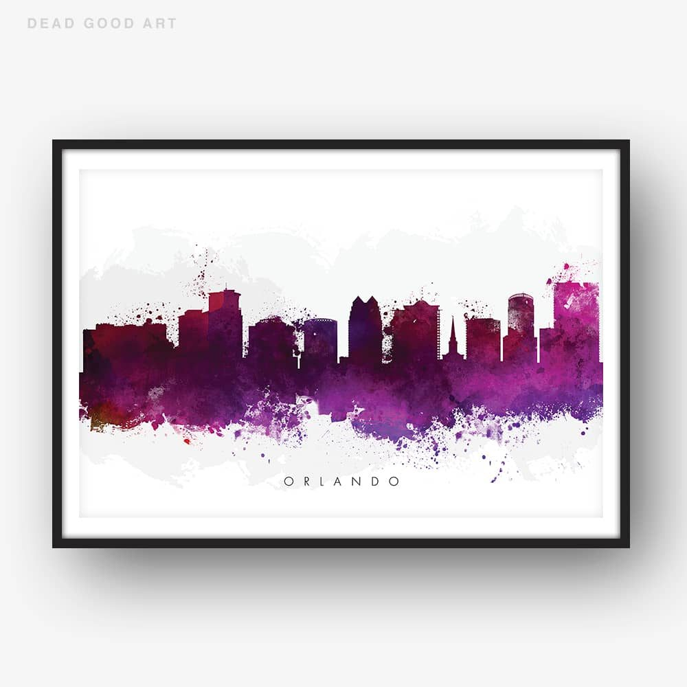 orlando skyline purple watercolor print