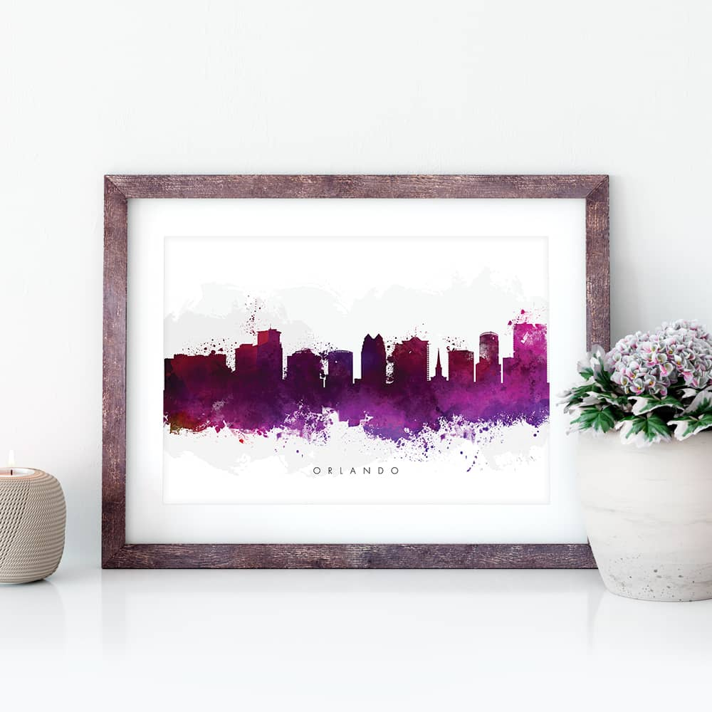 orlando skyline purple watercolor print closep