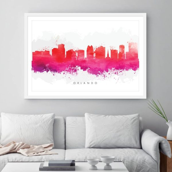 orlando skyline purple watercolor print framed 1