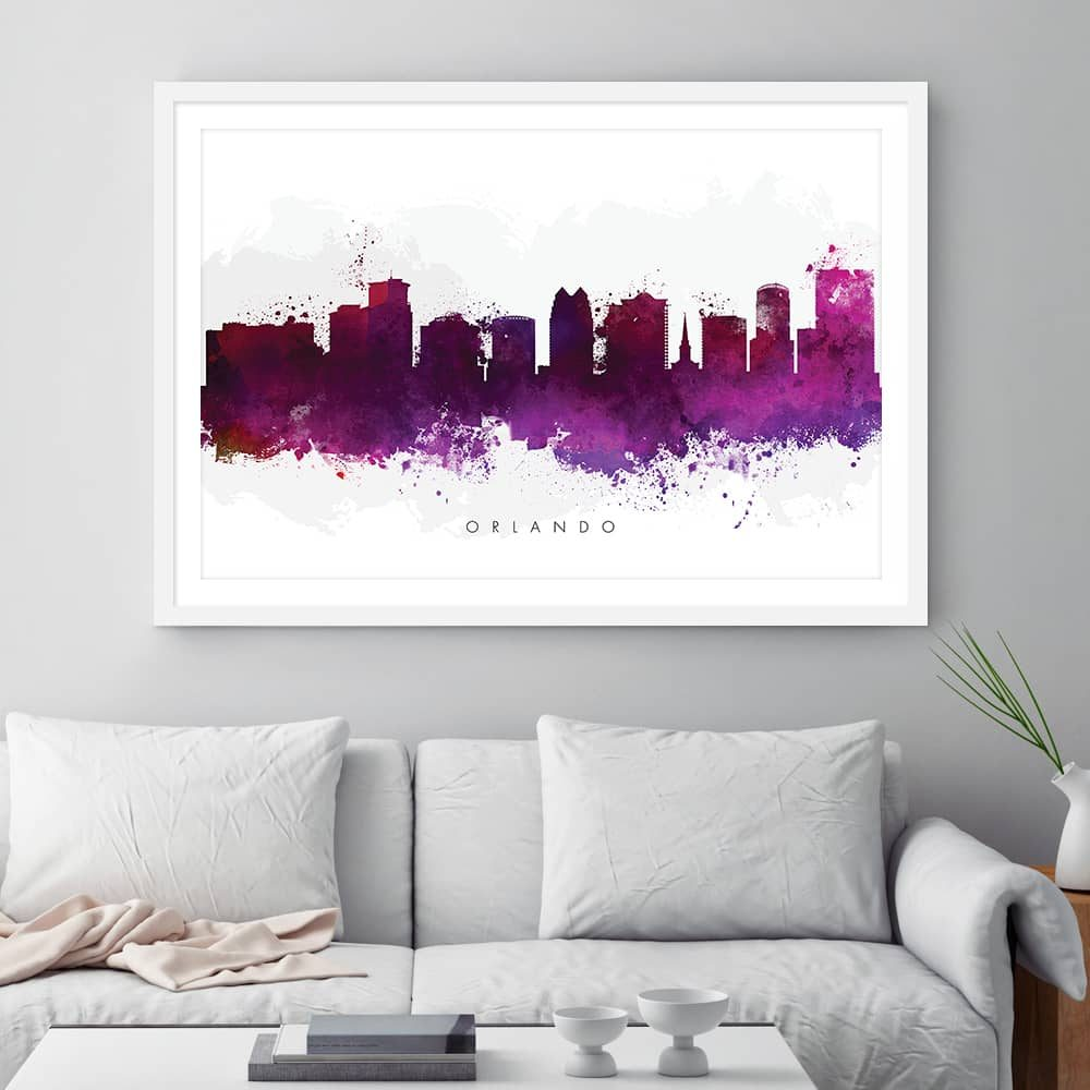 orlando skyline purple watercolor print framed