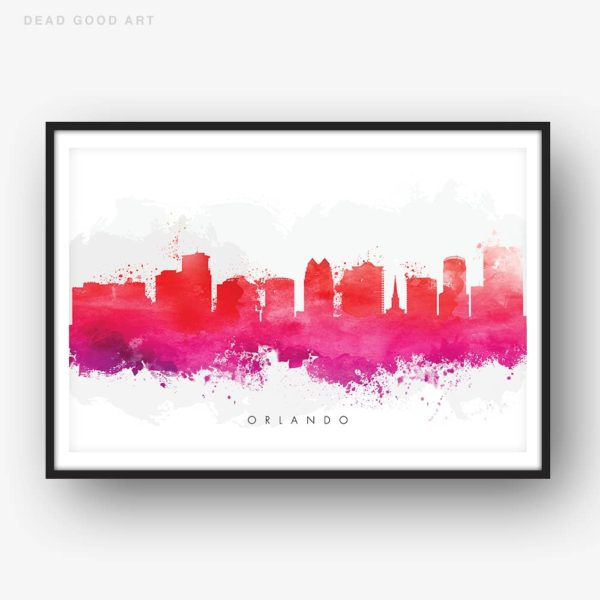 orlando skyline red watercolor print