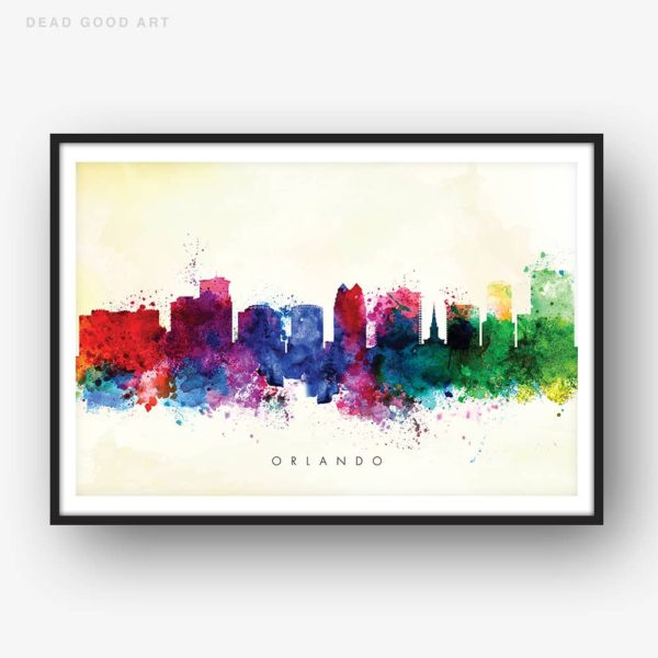 orlando skyline yellow wash watercolor print