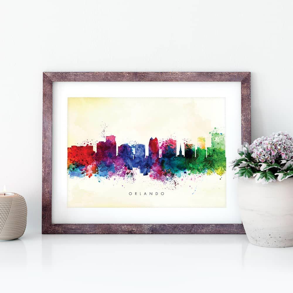 orlando skyline yellow wash watercolor print closeup