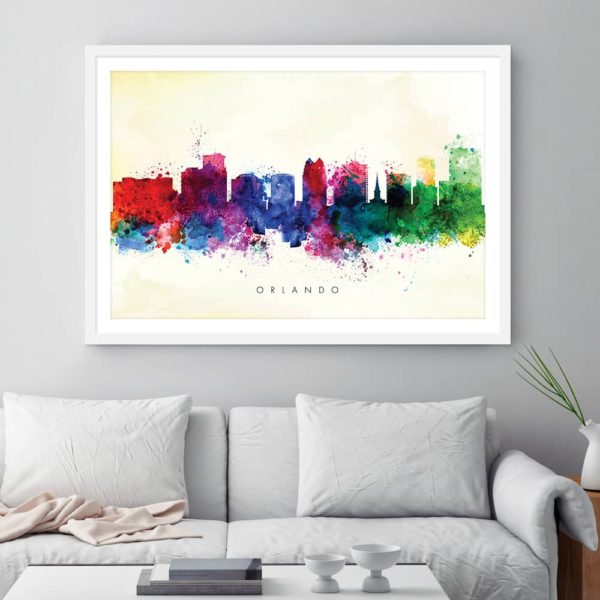 orlando skyline yellow wash watercolor print framed