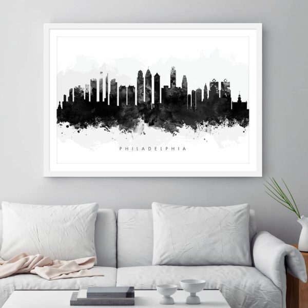 philadelphia skyline black white watercolor print framed