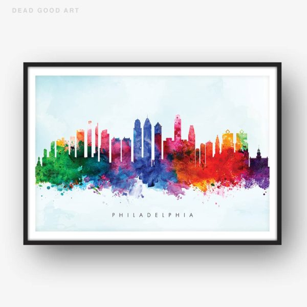 philadelphia skyline blue wash watercolor print