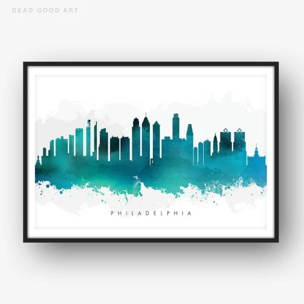 philadelphia skyline green watercolor print